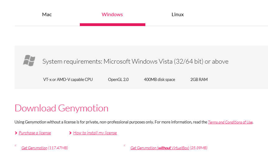 Установка Genymotion на Windows
