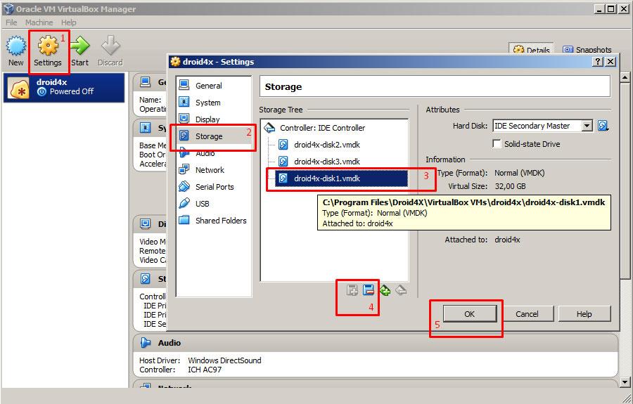 Удаление SD карты в Droid4X