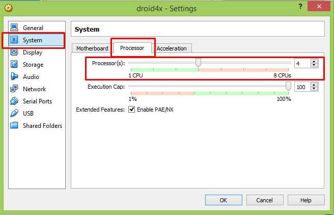 Эмулятор Droid4X 0.8.2 - Настройка количества процессоров