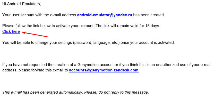 Регистрация Genymotion