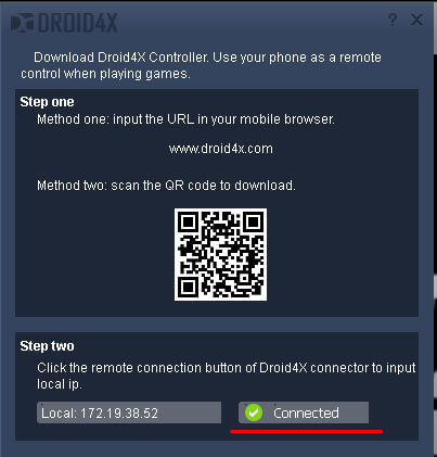 Настройка управления в Droid4X с помощью телефона