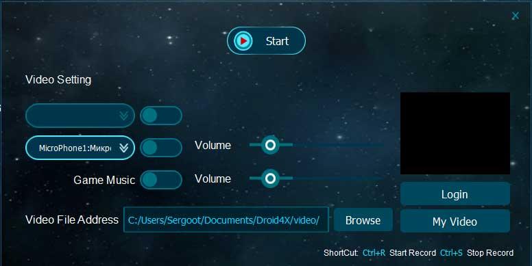 Эмулятор Droid4X 0.8.2 - Запись видео